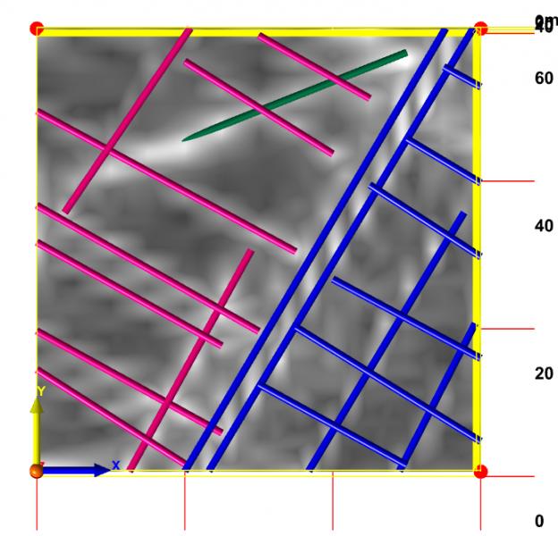 Traitement informatique de l'image en 3D avec matérialisation (vert) du réseau recherché